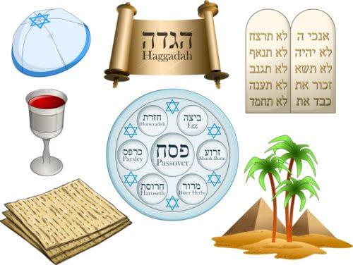 passover haggadah matzah seder plate yarmulke
